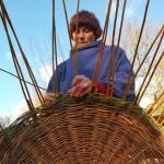 Hannah making baskets